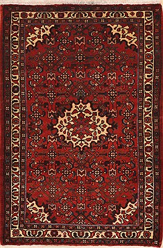 "Hossein Abad Red Hand Knotted 3'5"" X 5'2""  Area Rug 100-11385"