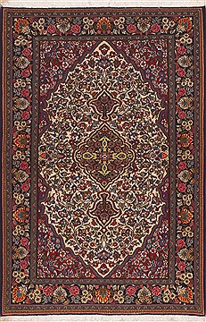 "Shahreza Red Hand Knotted 3'5"" X 5'3""  Area Rug 100-11405"