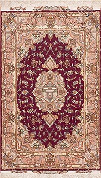 Persian Tabriz Purple Rectangle 3x5 ft Wool Carpet 11422