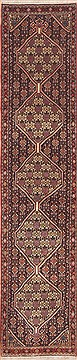 "Sanandaj Green Runner Hand Knotted 1'7"" X 8'1""  Area Rug 100-11448"