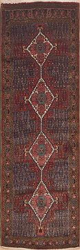 "Hamedan Blue Runner Hand Knotted 3'0"" X 9'6""  Area Rug 100-11474"