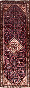 "Hamedan Red Runner Hand Knotted 3'5"" X 10'1""  Area Rug 100-11475"