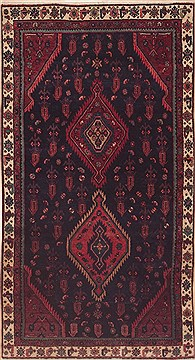 Persian Hamedan Red Rectangle 5x7 ft Wool Carpet 11483