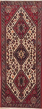 "Qashqai Red Runner Hand Knotted 2'7"" X 6'8""  Area Rug 100-11505"