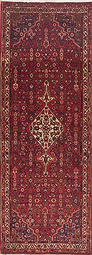 "Hamedan Red Runner Hand Knotted 3'9"" X 10'3""  Area Rug 100-11532"