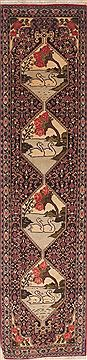"Sanandaj Green Runner Hand Knotted 1'8"" X 7'9""  Area Rug 100-11543"