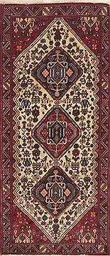 "Qashqai Green Hand Knotted 2'9"" X 6'6""  Area Rug 100-11546"