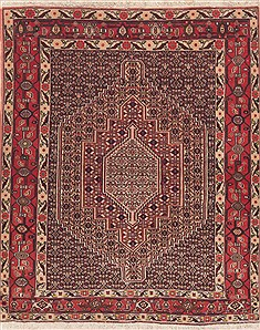 "Sanandaj Red Hand Knotted 4'1"" X 4'10""  Area Rug 100-11549"