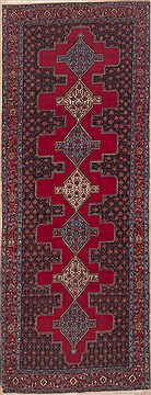 "Hossein Abad Red Runner Hand Knotted 4'1"" X 11'1""  Area Rug 100-11552"
