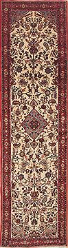 Persian Hamedan Beige Runner 10 to 12 ft Wool Carpet 11574