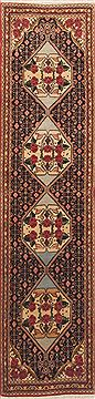 "Sanandaj Red Runner Hand Knotted 1'10"" X 7'7""  Area Rug 100-11579"