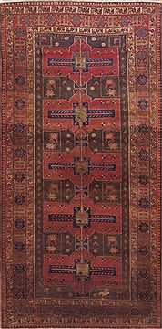 "Meshkin Red Runner Hand Knotted 4'11"" X 10'2""  Area Rug 100-11608"