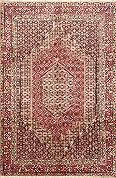 "Sanandaj Red Hand Knotted 6'7"" X 9'11""  Area Rug 100-11696"