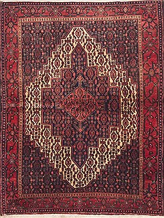"Sanandaj Red Hand Knotted 4'2"" X 5'2""  Area Rug 100-11753"