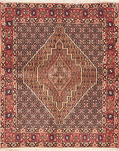 "Sanandaj Red Hand Knotted 4'0"" X 5'1""  Area Rug 100-11755"
