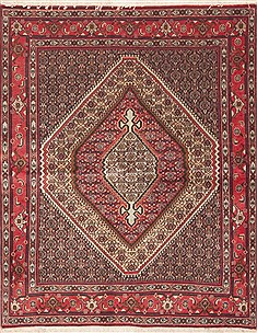 "Sanandaj Red Hand Knotted 4'0"" X 5'1""  Area Rug 100-11756"