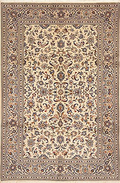 Persian Kashan Beige Rectangle 6x9 ft Wool Carpet 11767