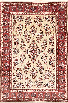 Persian Yazd Beige Rectangle 7x10 ft Wool Carpet 11771
