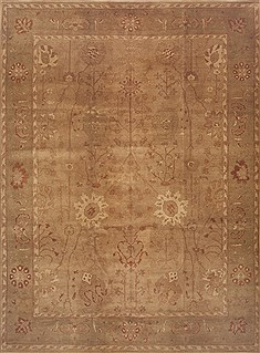 "Agra Brown Hand Knotted 9'8"" X 13'0""  Area Rug 100-11791"