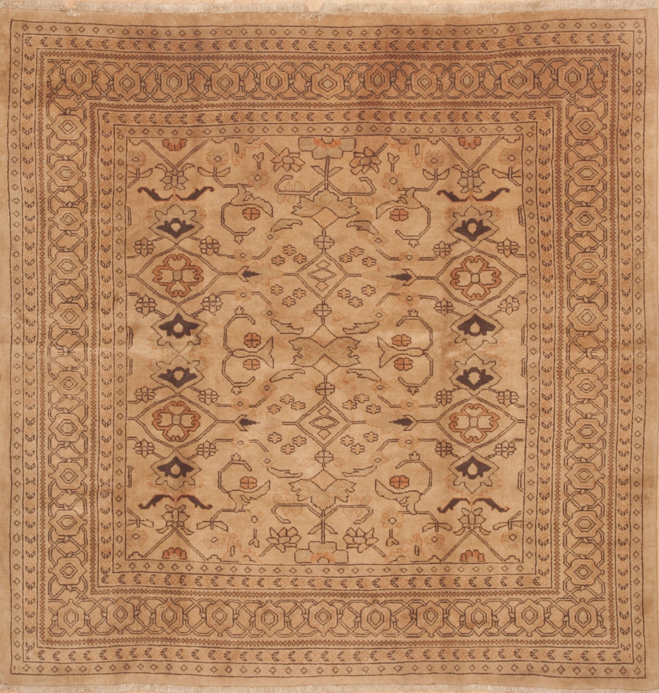 Ardebil Brown Square Hand Knotted 8 X Area Rug 100 11798