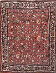 Persian Moshk Abad Red Rectangle 10x13 ft Wool Carpet 11804