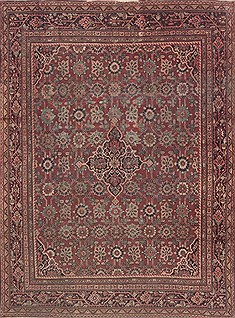 Persian Moshk Abad Red Rectangle 8x11 ft Wool Carpet 11816