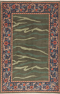 Indian Indo-Nepal Green Square 7 to 8 ft Wool Carpet 11845