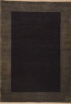 Indian Indo-Tibetan Black Rectangle 6x9 ft Wool Carpet 11850