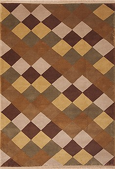 Indian Indo-Nepal Brown Rectangle 6x9 ft Wool Carpet 11853