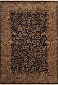 Indian Indo-Nepal Black Rectangle 6x9 ft Wool Carpet 11859
