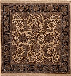 Indian Jaipur Beige Square 5 to 6 ft Wool Carpet 11878