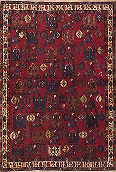 Persian Sirjan Red Rectangle 5x8 ft Wool Carpet 11886