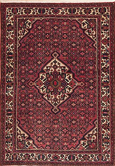 Persian Hossein Abad Red Rectangle 5x7 ft Wool Carpet 11907