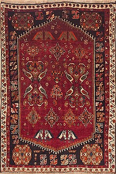 Persian Shiraz Red Rectangle 5x8 ft Wool Carpet 11916