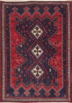 Persian Afshar Red Rectangle 5x7 ft Wool Carpet 11917