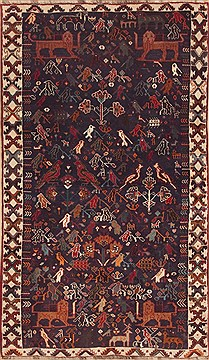 "Abadeh Blue Runner Hand Knotted 4'3"" X 8'11""  Area Rug 100-11918"