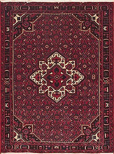 Persian Hossein Abad Red Rectangle 5x7 ft Wool Carpet 11925