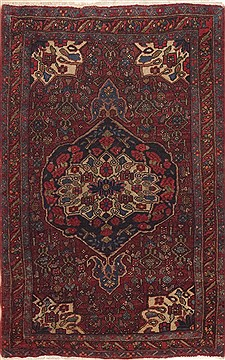 Persian Bidjar Red Rectangle 2x4 ft Wool Carpet 11934