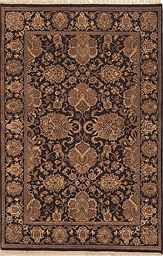 Indian Jaipur Black Rectangle 4x6 ft Wool Carpet 11985