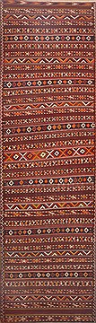 "Kilim Red Runner Hand Knotted 5'10"" X 18'7""  Area Rug 100-11993"