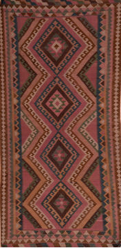 "Kilim Red Runner Hand Knotted 4'6"" X 9'3""  Area Rug 100-110015"