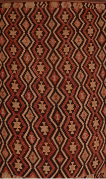 Afghan Kilim Brown Rectangle 6x9 ft Wool Carpet 110023
