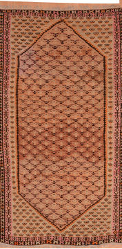 Afghan Kilim Brown Runner 6 to 9 ft Wool Carpet 110025