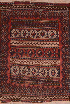 Afghan Kilim Red Rectangle 4x6 ft Wool Carpet 110035