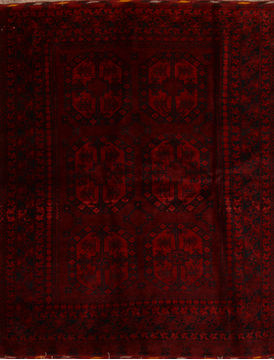"Khan Mohammadi Red Hand Knotted 5'6"" X 7'1""  Area Rug 100-110082"