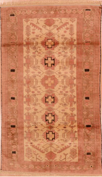 "Baluch Beige Hand Knotted 3'2"" X 5'7""  Area Rug 100-110090"