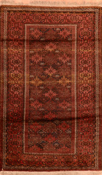 "Baluch Brown Hand Knotted 3'5"" X 5'7""  Area Rug 100-110107"