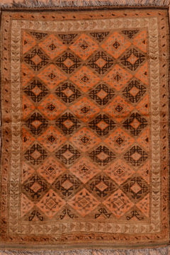 "Baluch Orange Square Hand Knotted 4'11"" X 5'3""  Area Rug 100-110117"