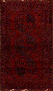 Afghan Baluch Red Rectangle 3x5 ft Wool Carpet 110140