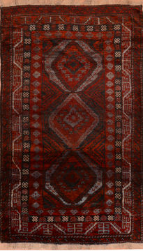 "Baluch Red Hand Knotted 4'1"" X 6'6""  Area Rug 100-110141"